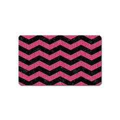 Chevron3 Black Marble & Pink Denim Magnet (name Card) by trendistuff