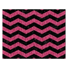 Chevron3 Black Marble & Pink Denim Rectangular Jigsaw Puzzl by trendistuff