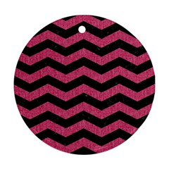Chevron3 Black Marble & Pink Denim Round Ornament (two Sides) by trendistuff