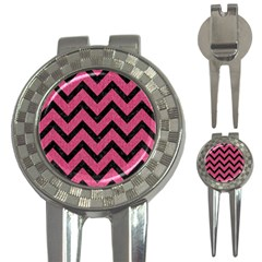 Chevron9 Black Marble & Pink Denim 3 In 1 Golf Divots by trendistuff