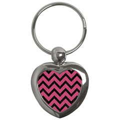 Chevron9 Black Marble & Pink Denim Key Chains (heart)  by trendistuff