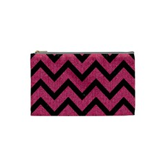 Chevron9 Black Marble & Pink Denim Cosmetic Bag (small)  by trendistuff