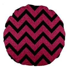 Chevron9 Black Marble & Pink Denim Large 18  Premium Round Cushions