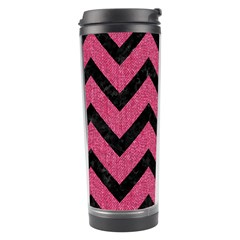 Chevron9 Black Marble & Pink Denim Travel Tumbler by trendistuff