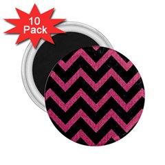 Chevron9 Black Marble & Pink Denim (r) 2 25  Magnets (10 Pack)  by trendistuff