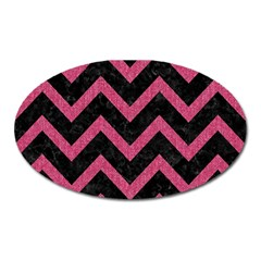 Chevron9 Black Marble & Pink Denim (r) Oval Magnet by trendistuff