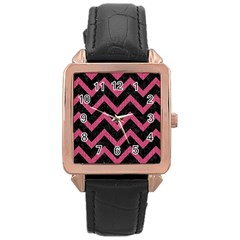 Chevron9 Black Marble & Pink Denim (r) Rose Gold Leather Watch  by trendistuff