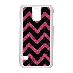 Chevron9 Black Marble & Pink Denim (r) Samsung Galaxy S5 Case (white) by trendistuff