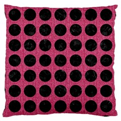 Circles1 Black Marble & Pink Denim Large Cushion Case (two Sides) by trendistuff