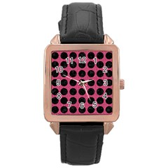 Circles1 Black Marble & Pink Denim Rose Gold Leather Watch  by trendistuff