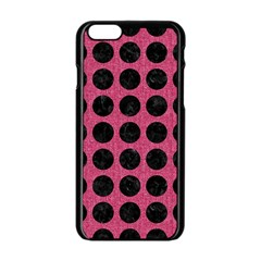 Circles1 Black Marble & Pink Denim Apple Iphone 6/6s Black Enamel Case by trendistuff