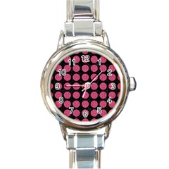 Circles1 Black Marble & Pink Denim (r) Round Italian Charm Watch by trendistuff