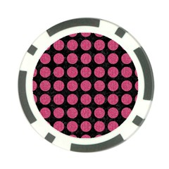Circles1 Black Marble & Pink Denim (r) Poker Chip Card Guard by trendistuff