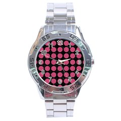 Circles1 Black Marble & Pink Denim (r) Stainless Steel Analogue Watch by trendistuff