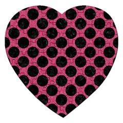 Circles2 Black Marble & Pink Denim Jigsaw Puzzle (heart) by trendistuff
