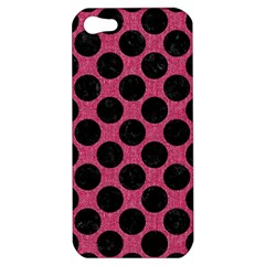 Circles2 Black Marble & Pink Denim Apple Iphone 5 Hardshell Case by trendistuff