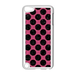 Circles2 Black Marble & Pink Denim Apple Ipod Touch 5 Case (white)