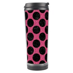 Circles2 Black Marble & Pink Denim Travel Tumbler by trendistuff
