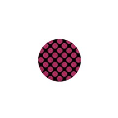 Circles2 Black Marble & Pink Denim (r) 1  Mini Buttons by trendistuff