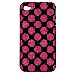 Circles2 Black Marble & Pink Denim (r) Apple Iphone 4/4s Hardshell Case (pc+silicone) by trendistuff