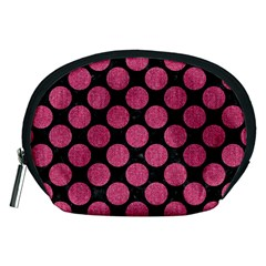 Circles2 Black Marble & Pink Denim (r) Accessory Pouches (medium)  by trendistuff