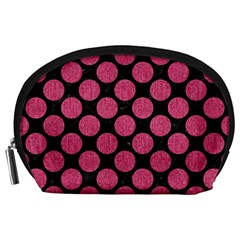 Circles2 Black Marble & Pink Denim (r) Accessory Pouches (large)  by trendistuff