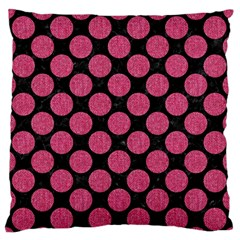 Circles2 Black Marble & Pink Denim (r) Standard Flano Cushion Case (two Sides) by trendistuff
