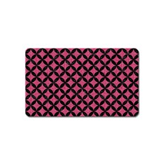 Circles3 Black Marble & Pink Denim Magnet (name Card) by trendistuff