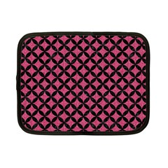 Circles3 Black Marble & Pink Denim Netbook Case (small)  by trendistuff