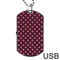 Circles3 Black Marble & Pink Denim Dog Tag Usb Flash (two Sides) by trendistuff