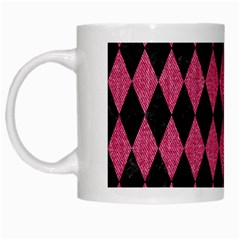 Diamond1 Black Marble & Pink Denim White Mugs by trendistuff