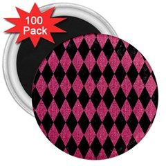 Diamond1 Black Marble & Pink Denim 3  Magnets (100 Pack) by trendistuff