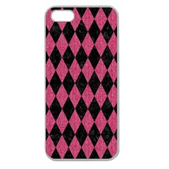 Diamond1 Black Marble & Pink Denim Apple Seamless Iphone 5 Case (clear) by trendistuff