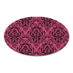 Damask1 Black Marble & Pink Denim Oval Magnet by trendistuff