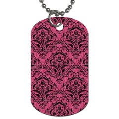Damask1 Black Marble & Pink Denim Dog Tag (one Side) by trendistuff