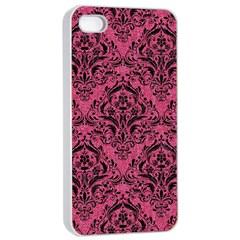 Damask1 Black Marble & Pink Denim Apple Iphone 4/4s Seamless Case (white) by trendistuff