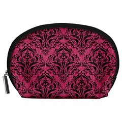 Damask1 Black Marble & Pink Denim Accessory Pouches (large)  by trendistuff