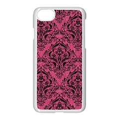 Damask1 Black Marble & Pink Denim Apple Iphone 7 Seamless Case (white) by trendistuff