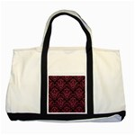 DAMASK1 BLACK MARBLE & PINK DENIM (R) Two Tone Tote Bag Front