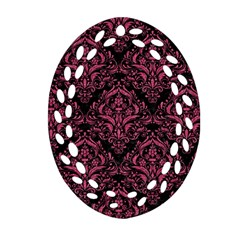 Damask1 Black Marble & Pink Denim (r) Ornament (oval Filigree)