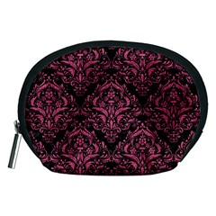 Damask1 Black Marble & Pink Denim (r) Accessory Pouches (medium)  by trendistuff