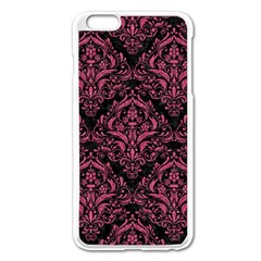 Damask1 Black Marble & Pink Denim (r) Apple Iphone 6 Plus/6s Plus Enamel White Case by trendistuff