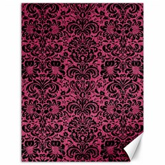 Damask2 Black Marble & Pink Denim Canvas 12  X 16   by trendistuff