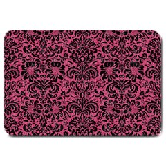 Damask2 Black Marble & Pink Denim Large Doormat  by trendistuff