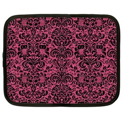 Damask2 Black Marble & Pink Denim Netbook Case (large) by trendistuff