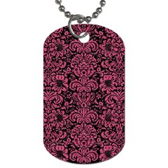 Damask2 Black Marble & Pink Denim (r) Dog Tag (two Sides) by trendistuff