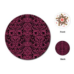 Damask2 Black Marble & Pink Denim (r) Playing Cards (round)  by trendistuff
