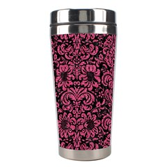 Damask2 Black Marble & Pink Denim (r) Stainless Steel Travel Tumblers by trendistuff