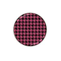 Houndstooth1 Black Marble & Pink Denim Hat Clip Ball Marker by trendistuff