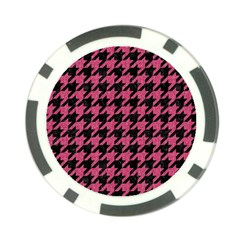 Houndstooth1 Black Marble & Pink Denim Poker Chip Card Guard by trendistuff